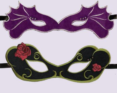 Embroidered Eye Masks in Purple & Black Velvet for Custom Party