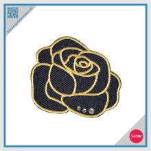 Embroidery Rose Patch with Rhinestones