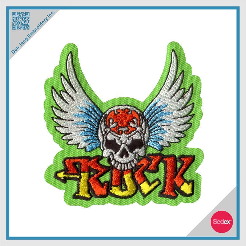 Iron On Embroidered Patch - Rock Wing Skull