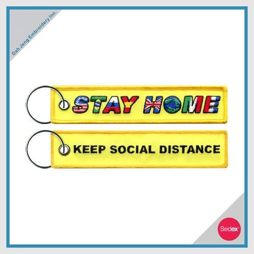 COVID-19 - STAY HOME EMBROIDERY KEY CHAIN