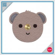 Leather Earphone Winder with Embroidered Koala Face design